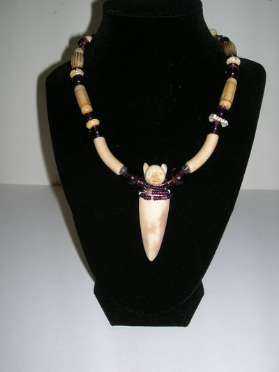 Cat Choker - Carved elk antler, old Chinese glass, clay, bone $275